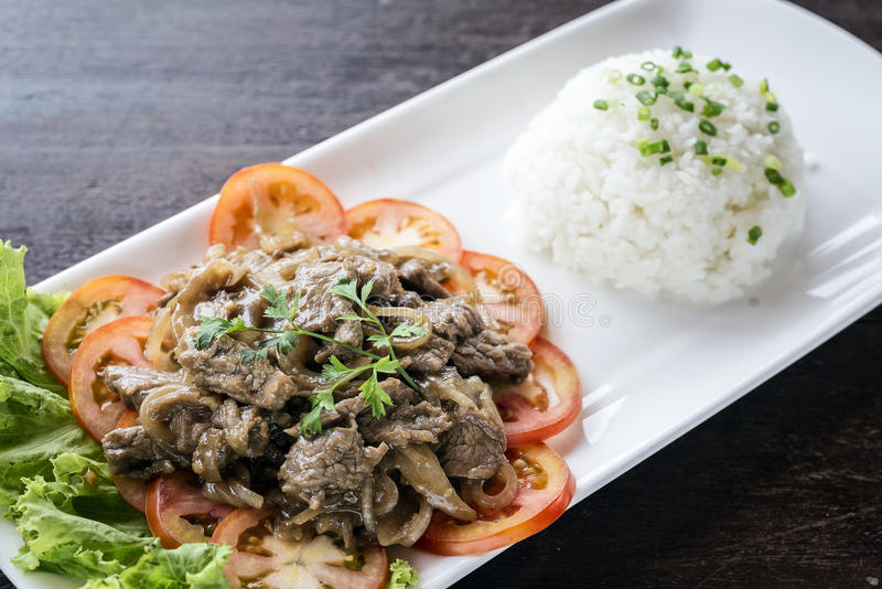 Cambodian beef lok lak traditional khmer food. Cambodian fried beef lok lak traditional khmer food royalty free stock photography