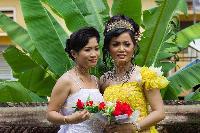 Cambodian Bride With Bridesmaid Editorial Stock Image