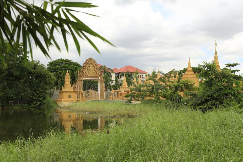 Cambodian Buddhist Centre Phnom Penh. Cambodian Buddhist Centre commemorates the Buddhist religion while describing its history. Located across many hectares in stock photography