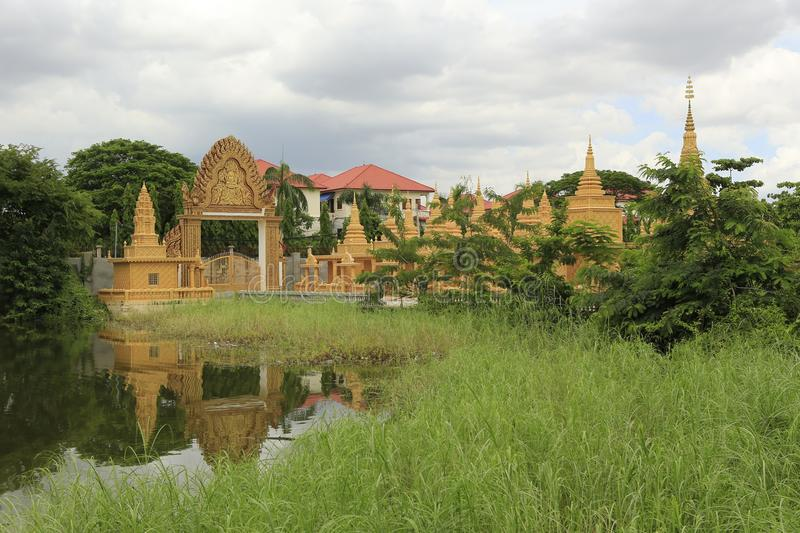 Cambodian Buddhist Centre Phnom Penh. Cambodian Buddhist Centre commemorates the Buddhist religion while describing its history. Located across many hectares in stock photos