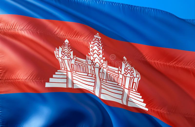 Cambodian flag. 3D Waving flag design. The national symbol of Cambodia, 3D rendering. Cambodian National colors. Cambodia 3D vector illustration
