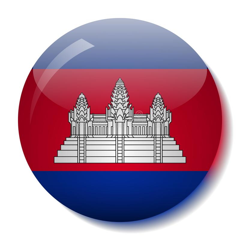 Cambodian flag glass button vector illustration royalty free illustration