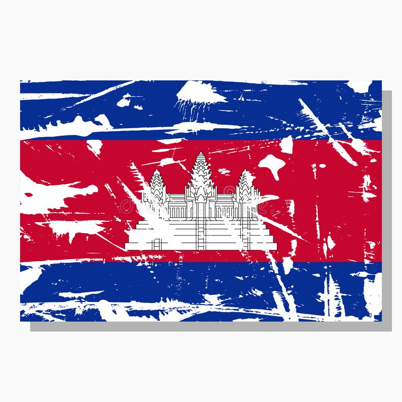 Cambodian flag with scratches, vector flag of Cambodia. stock illustration