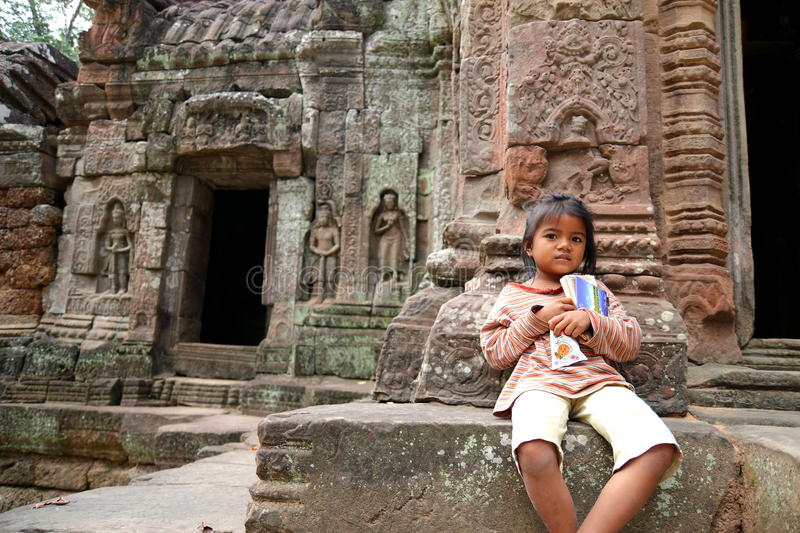 Download Cambodian Kid At Angkor Wat Editorial Stock Image - Image of insight, children: 17530569