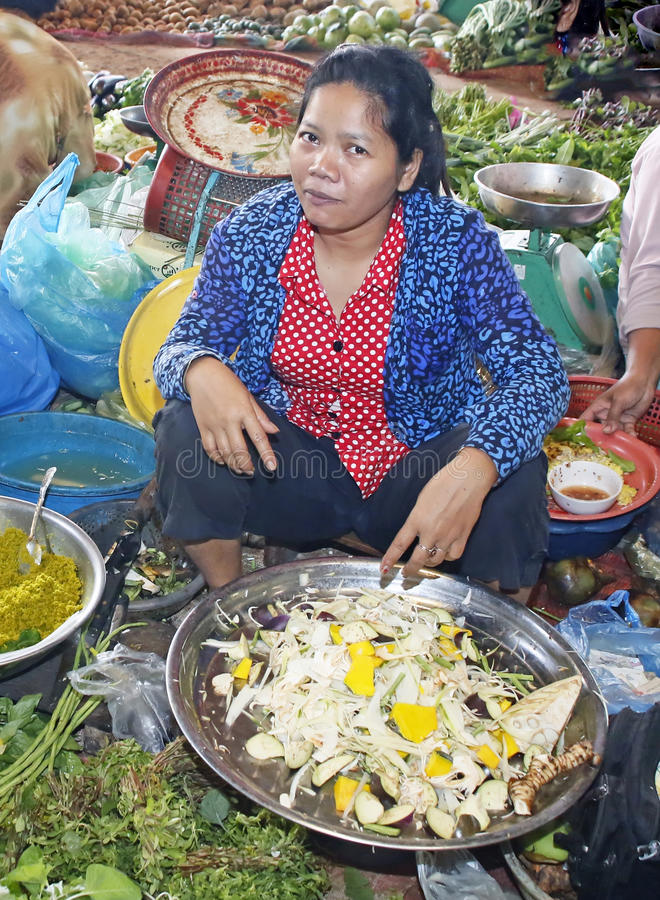 Cambodian Market Vendor stock photo