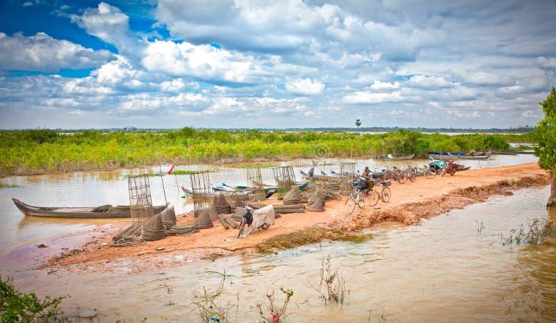 Cambodian people live beside Tonle Sap Lake, Cambodia . stock image