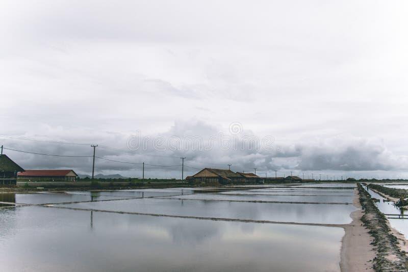 Cambodian salt winning basins near Kampot royalty free stock images