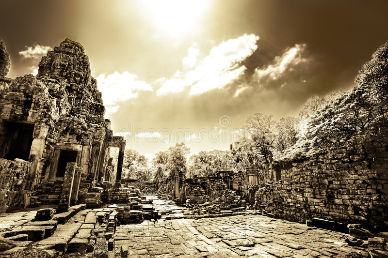 Download Cambodian Temple Ruins In Monochrome Stock Image - Image of outdoor, vivid: 3829865