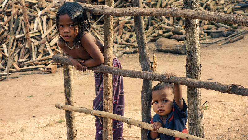 Cambodian village children stock image