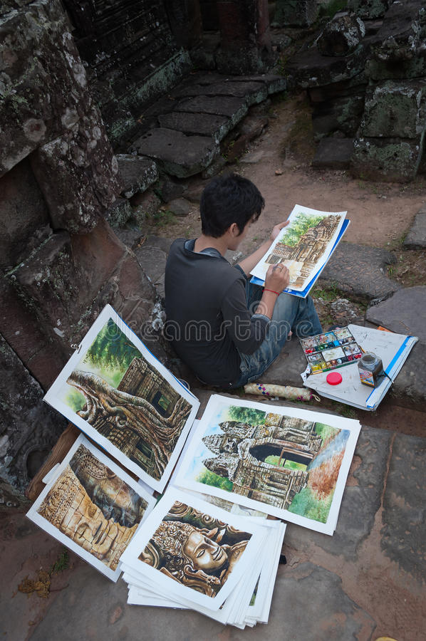 Download Cambodian Young Painter At The Temple Banteay Kdei Temple.Angkor Editorial Photography - Image of kdei, ruin: 33774577