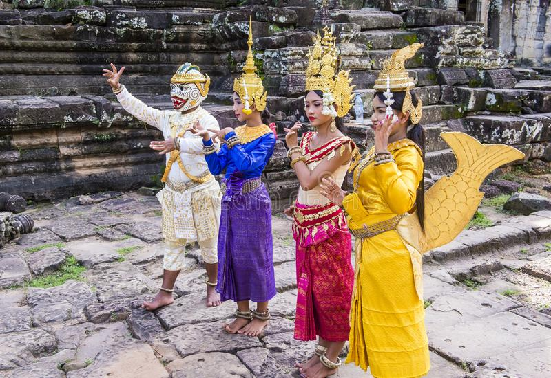 Cambodians Apsara dancers royalty free stock photography