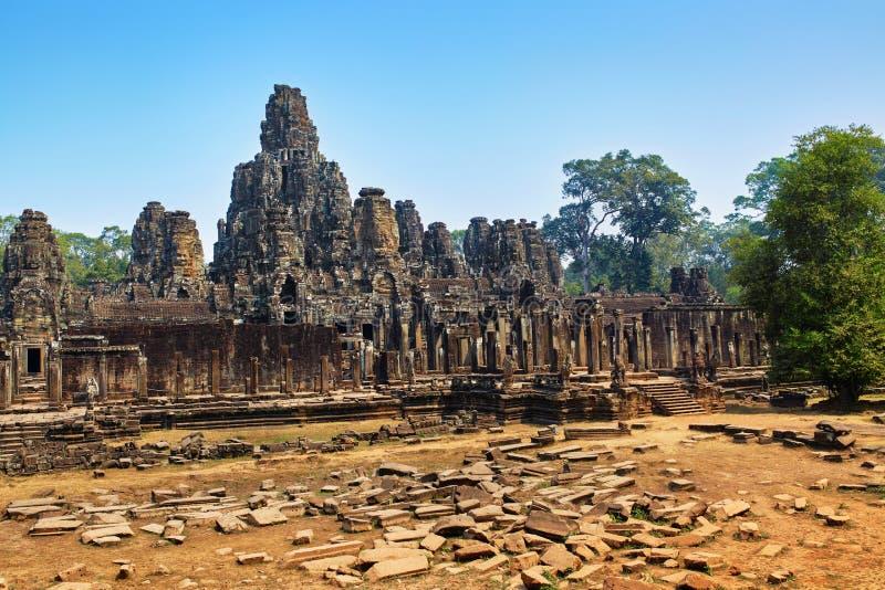 Cambodja berömd gränsmärke thom för angkorbayontempel Världsarv royaltyfri bild