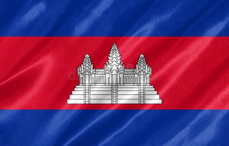 Cambodja flagga stock illustrationer
