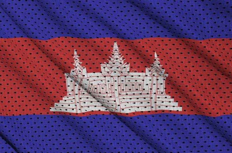 Cambodja flagga som skrivs ut på en fabri för ingrepp för polyesternylonsportswear arkivfoton