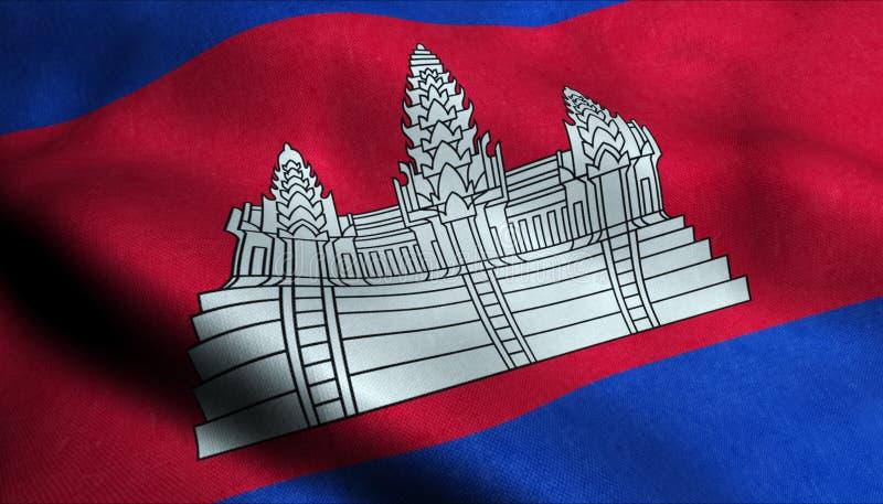 Cambodja vinkande flagga i 3D stock illustrationer