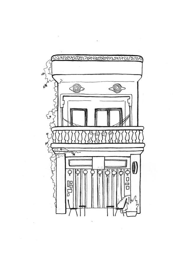 Cambodjaans huis met winde handdrawn schets Europese koloniale architectuur Zwart-witte reisschets stock illustratie