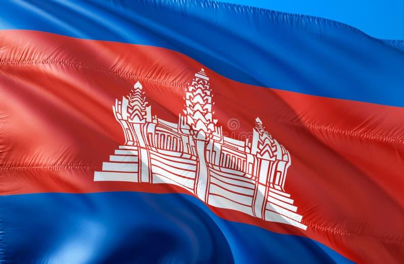 Cambodjaanse vlag 3D het Golven vlagontwerp Het nationale symbool van Kambodja, het 3D teruggeven Cambodjaanse Nationale kleuren  vector illustratie