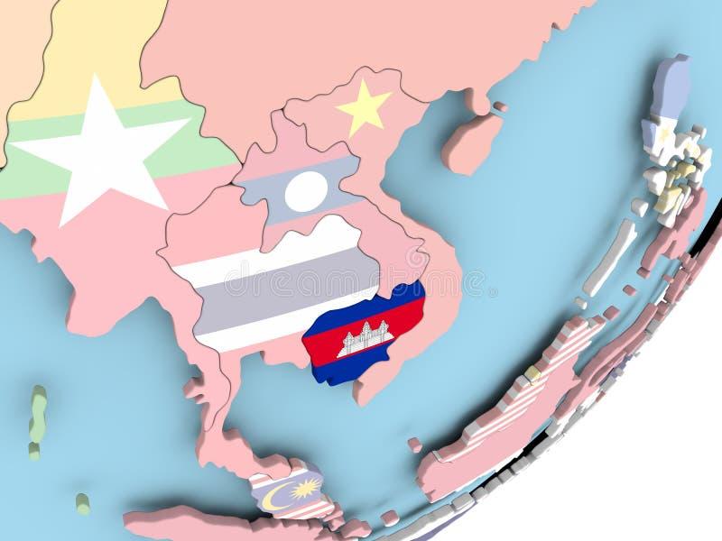Camboya con la bandera stock de ilustración
