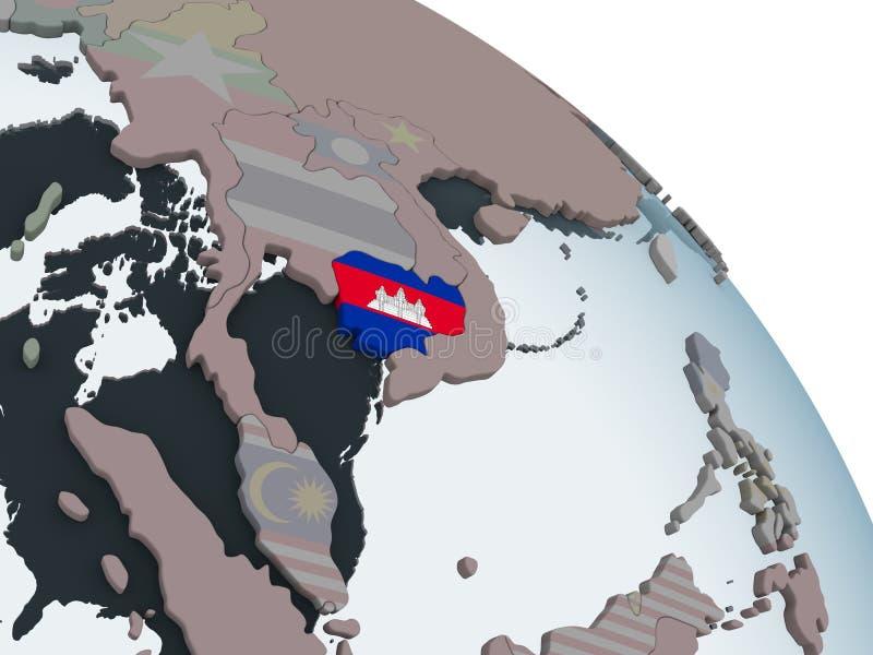 Camboya con la bandera en el globo libre illustration