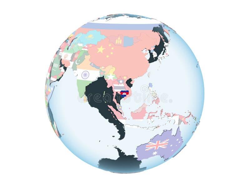 Camboya con la bandera en el globo aislado stock de ilustración