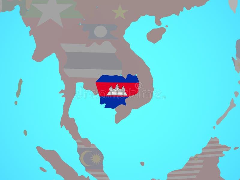 Camboya con la bandera en mapa stock de ilustración