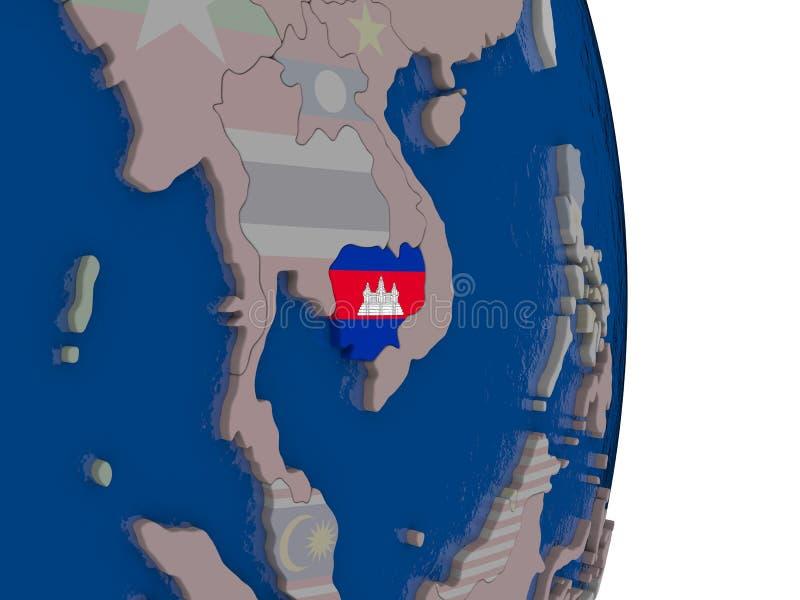 Camboya con su bandera ilustración del vector