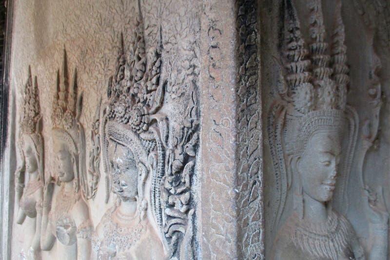 Camboya hace frente a la esquina de Angkor Wat del apsara, costura cosecha, C fotos de archivo