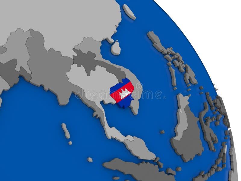Camboya y su bandera en el globo libre illustration