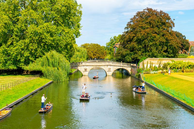 Cambridge, Cambridgeshire, United Kingdom - AUG 28, 2019: Tourists on punt trip along River Cam near Kings College in the city of. Cambridge, Cambridgeshire stock image