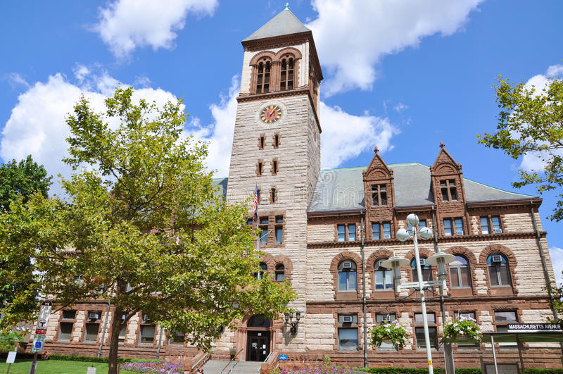 Cambridge City Hall, Cambridge, MA. Cambridge City Hall located at 795 Massachusetts Avenue, and built in the Richardsonian Romanesque style in Cambridge royalty free stock photo