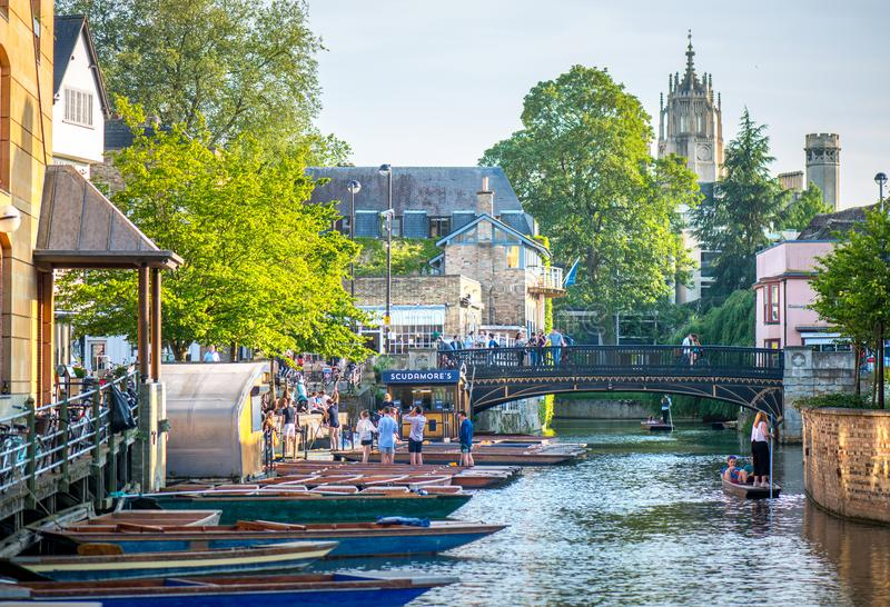 River punts and pubs. Cambridge In the East Anglia county hosts the 2nd oldest university in the world, a beautiful slow flowing river, numerous parks, punts and stock images