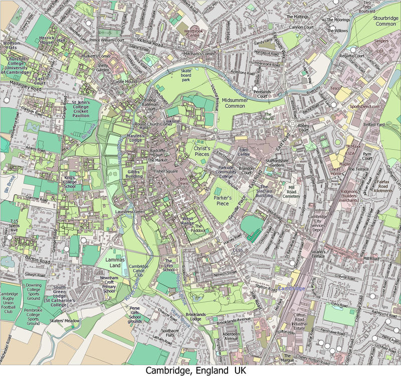 Cambridge England Uk city hi res aerial view stock illustration