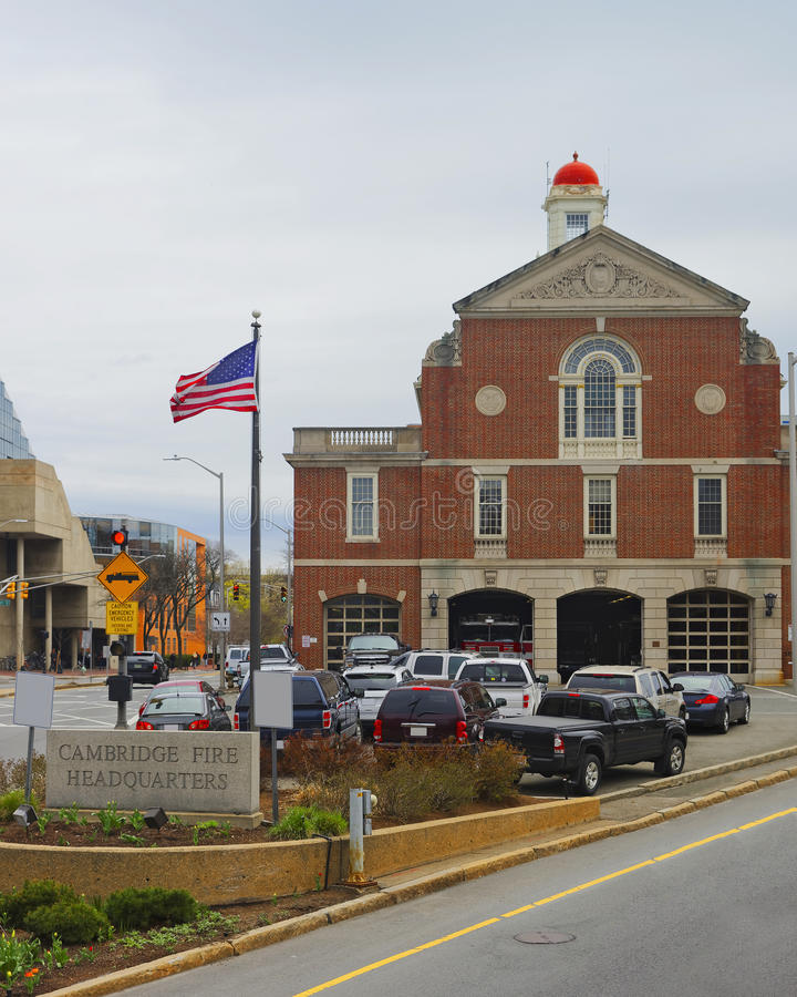 Cambridge Fire Headquarters of Harvard University in Cambridge. Massachusetts, MA, USA stock photo