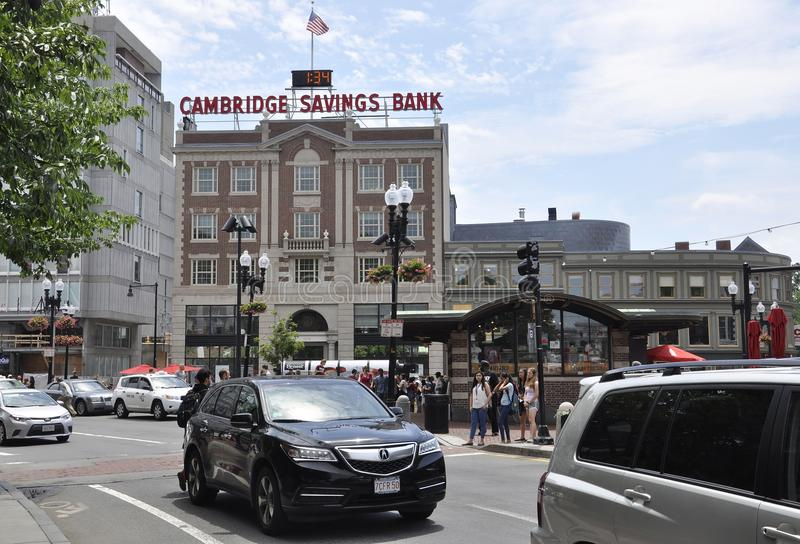 Cambridge MA, 30th june: Harvard Square from Cambridge downtown in Massachusettes State of USA stock photo