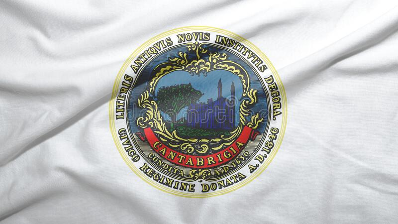Cambridge of Massachusetts of United States flag background. Cambridge of Massachusetts of United States flag on the fabric texture background vector illustration