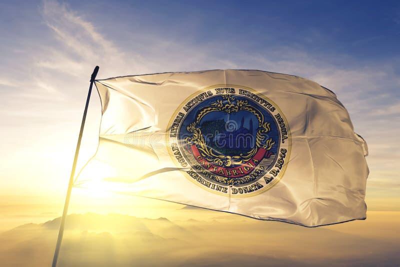 Cambridge of Massachusetts of United States flag waving on the top. Cambridge of Massachusetts of United States flag waving royalty free stock photo