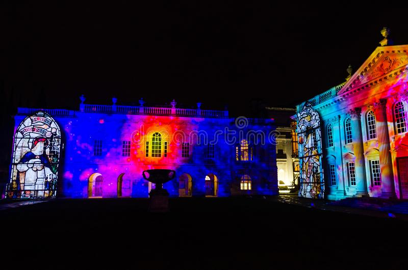 Cambridge Senate House illuminated during the eLuminate light festival royalty free stock photo