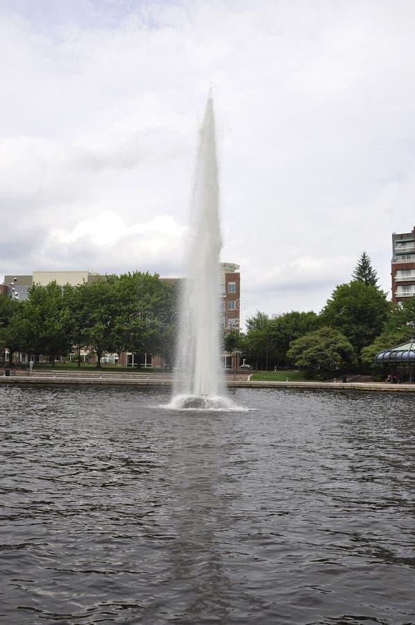 Cambridge 30th Juni: Springbrunn på den Charles River fjärden från Cambridge i USA royaltyfri foto