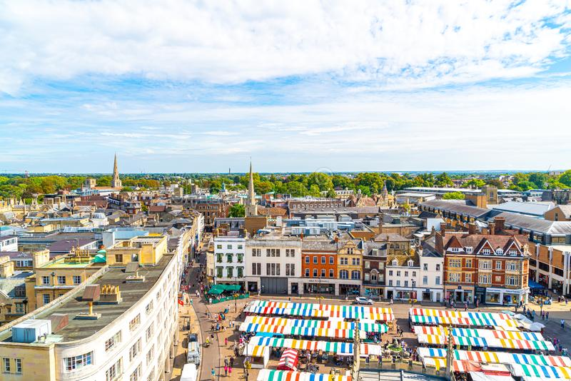 CAMBRIDGE, UK - AUG 28 2019: Aerial view of the Market Square. In Cambridge royalty free stock photos