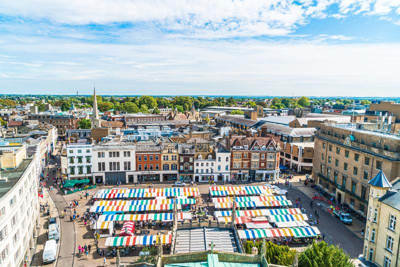 CAMBRIDGE, UK - AUG 28 2019: Aerial view of the Market Square. In Cambridge royalty free stock photography