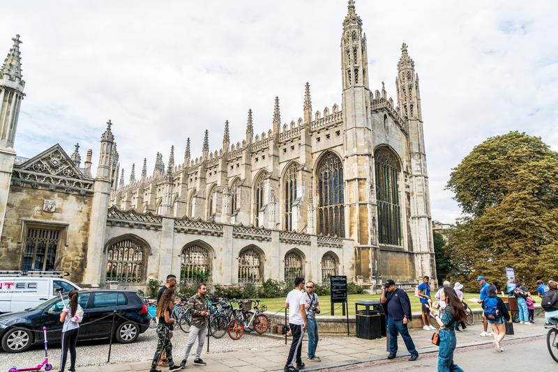 CAMBRIDGE, UK - AUG 28, 2019: King's college (started in 1446 by Henry VI). Historical buildings. In Cambridge, UK stock photo
