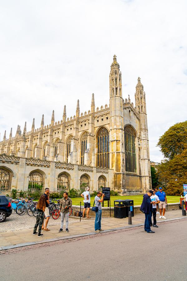 CAMBRIDGE, UK - AUG 28, 2019: King's college (started in 1446 by Henry VI). Historical buildings. In Cambridge, UK royalty free stock images