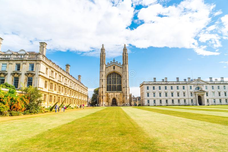 CAMBRIDGE, UK - AUG 28, 2019: King's college (started in 1446 by Henry VI). Historical buildings. In Cambridge, UK stock images