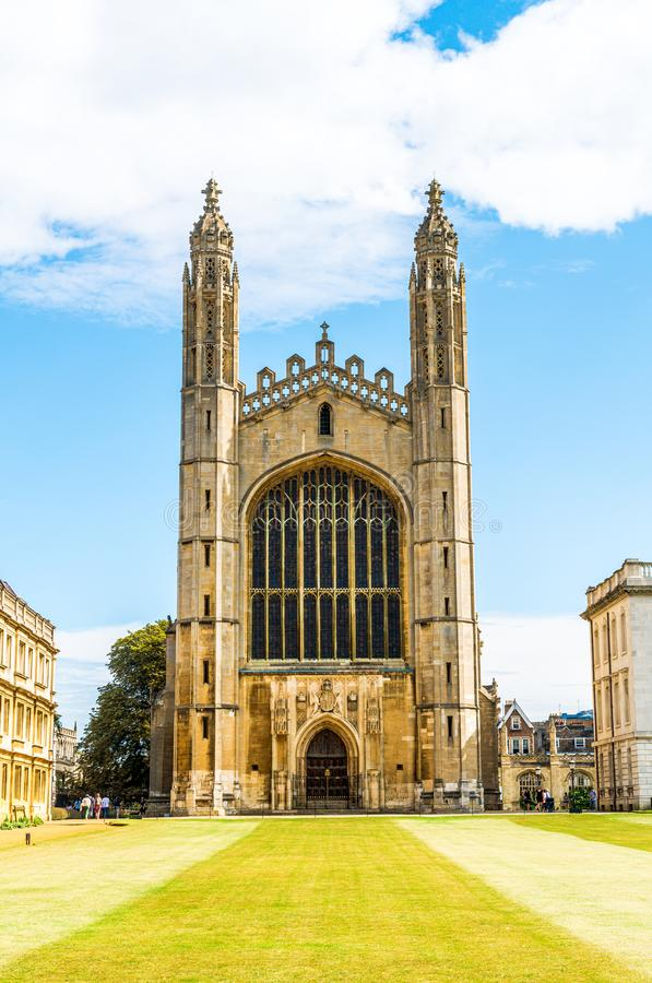 CAMBRIDGE, UK - AUG 28, 2019: King's college (started in 1446 by Henry VI). Historical buildings. In Cambridge, UK royalty free stock image