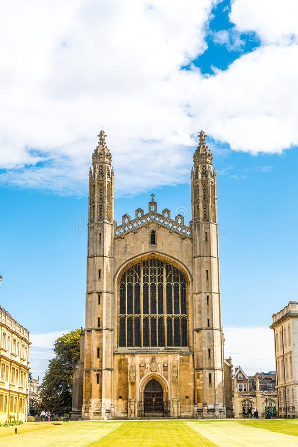 CAMBRIDGE, UK - AUG 28, 2019: King's college (started in 1446 by Henry VI). Historical buildings. In Cambridge, UK royalty free stock photo