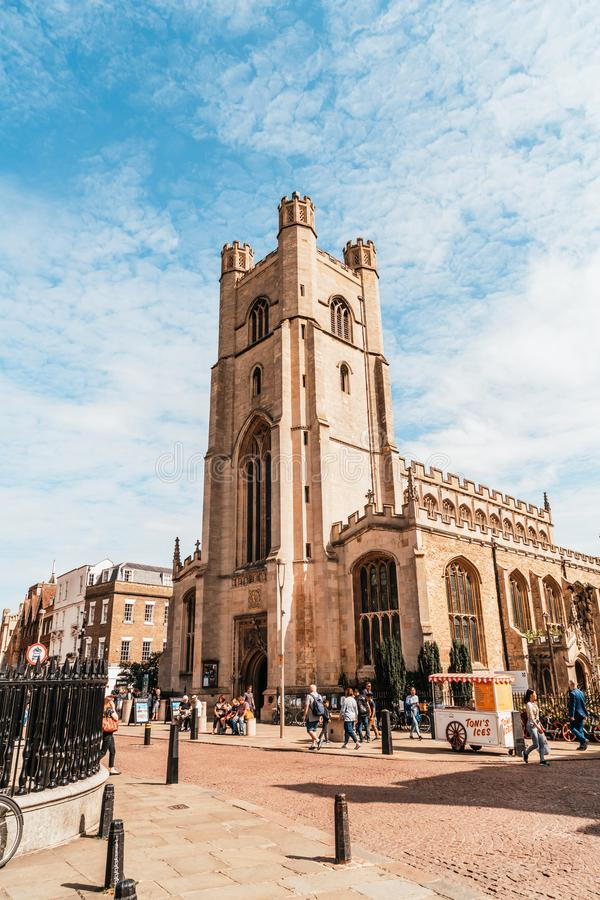 Cambridge, UK - AUG 28 2019:  Market square and St. Mary's church in Cambridge. UK stock images