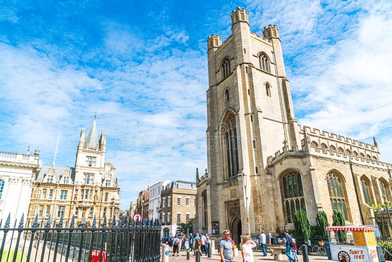 Cambridge, UK - AUG 28 2019:  Market square and St. Mary's church in Cambridge. UK stock photography