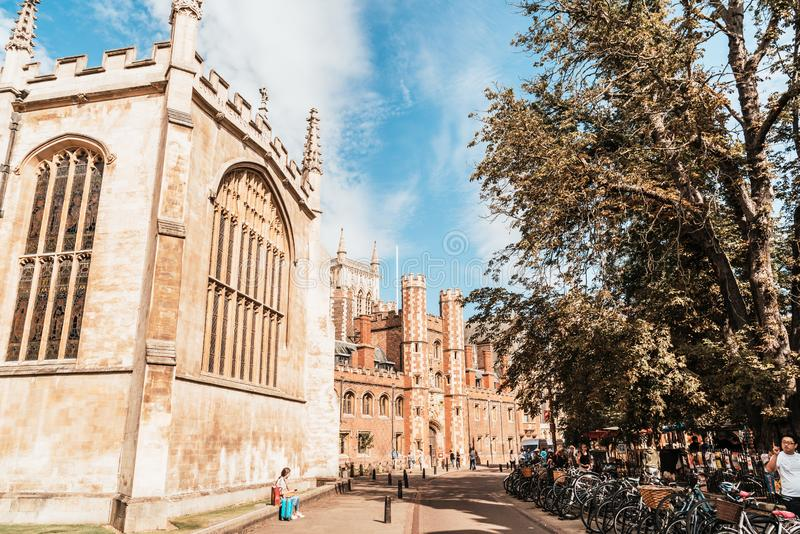 Cambridge, UK - AUG 28 2019: Old Trinity street in Cambridge, UK. It's a university city and the county town of Cambridgeshire,. England royalty free stock image