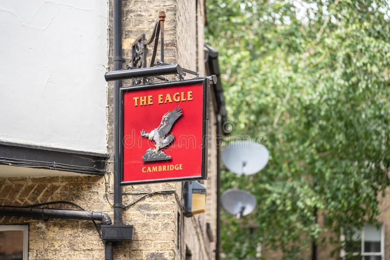 Cambridge, UK, August 1, 2019. Originally opened in 1667 as the Eagle and Child , The Eagle is one of the larger pubs in Cambridge. England royalty free stock photo