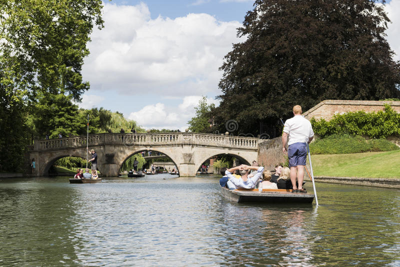 CAMBRIDGE, UK - AUGUST 18: Professional punter in busy River Cam. With tree lined bank to one side and the oldest bridge in Cambridge, Claire bridge, in the far stock photo